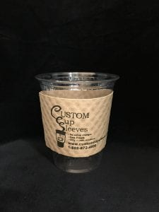 12oz clear cold cup with custom sleeve on natural with black text - Custom Cup Sleeves Smyrna, TN
