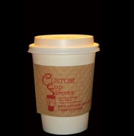 12 oz hot paper cup with white lid with white custom coffee cup sleeve - Custom Cup Sleeves Smyrna, TN