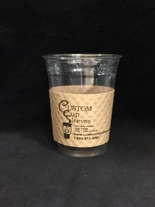 16oz clear cold cup with custom sleeve on natural with black text - Custom Cup Sleeves Smyrna, TN
