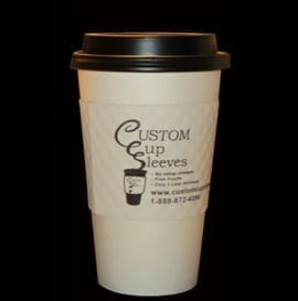 16oz white hot paper cup with black lid and white custom coffee cup sleeve - Custom Cup Sleeves Smyrna, TN