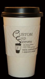 16oz hot paper cup with black lid white custom coffee cup lid - Custom Cup Sleeves Smyrna, TN