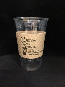 20oz clear cold cup with custom sleeve on natural with black text - Custom Cup Sleeves Smyrna, TN