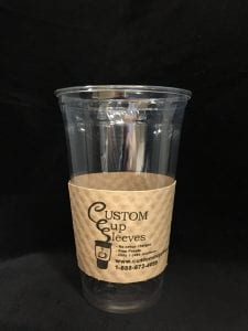 24oz clear cold cup with custom cup sleeve on natural with black text - Custom Cup Sleeves Smyrna, TN