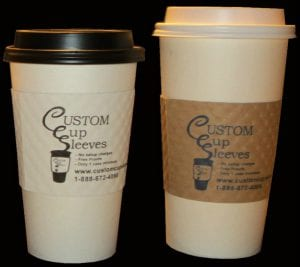 Hot paper cups with black and white lids in 2 sizes - Custom Cup Sleeves Smyrna, TN