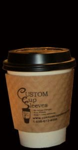 8oz white hot paper cup with black lid and natural custom coffee cup sleeve - Custom Cup Sleeves Smyrna, TN