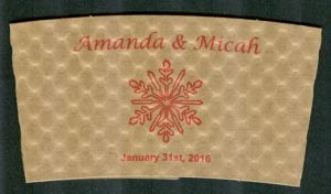 Amanda & Micah - Snowflake in Red - Custom Cup Sleeves Smyrna, TN