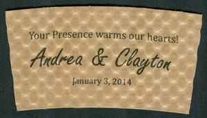 Andrea & Clayton custom wedding coffee cup sleeve - Custom Cup Sleeves Smyrna, TN