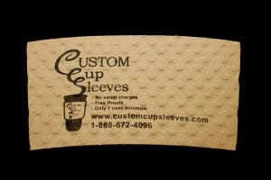 Custom coffee cup sleeve in natural with black text - Custom Cup Sleeves Smyrna, TN