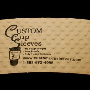 Custom coffee cup sleeve on natural with black text - Custom Cup Sleeves Smyrna, TN