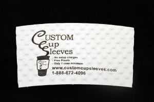 Custom coffee cup sleeve on white with black text - Custom Cup Sleeves Smyrna, TN