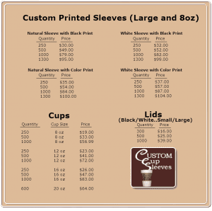 Custom printed sleeves price list - Custom Cup Sleeves Smyrna, TN