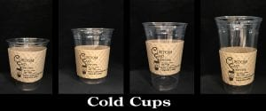 Four sizes of clear cold cups with custom sleeve on natural with black text - Custom Cup Sleeves Smyrna, TN