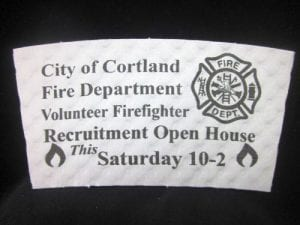 City of Cortland Fire Department custom coffee cup sleeve on white with black text - Custom Cup Sleeves Smyrna, TN