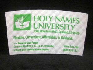 Holy Names University custom coffee cup sleeve on white with green text - Custom Cup Sleeves Smyrna, TN