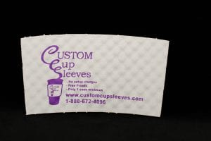 Custom coffee cup sleeve in white with purple text - Custom Cup Sleeves Smyrna, TN