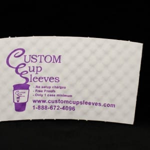 Custom coffee cup sleeve on white with purple text - Custom Cup Sleeves Smyrna, TN