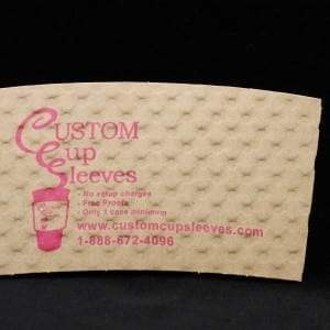 Custom coffee cup sleeve on natural color with pink text - Custom Cup Sleeves Smyrna, TN