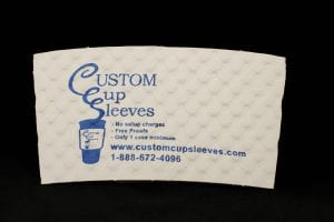 Custom coffee cup sleeve in white with blue text - Custom Cup Sleeves Smyrna, TN