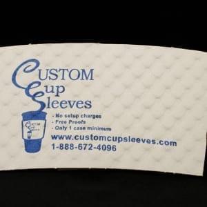 Custom coffee cup sleeve on white with blue text - Custom Cup Sleeves Smyrna, TN