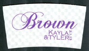 Kayla & Tyler - Brown in Purple - Custom Cup Sleeves Smyrna, TN