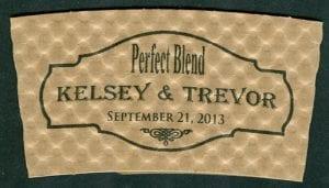 Kelsey & Trevor Perfect Blend custom coffee cup sleeve - Custom Cup Sleeves Smyrna, TN