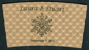 Laura and Stuart custom couples coffee cup sleeve - Custom Cup Sleeves Smyrna, TN