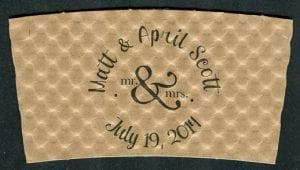 Matt & April custom wedding coffee cup sleeve