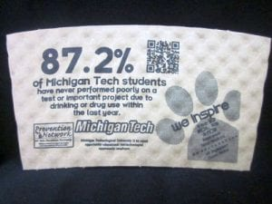 Michigan Tech custom coffee cup sleeve on white with grey text - Custom Cup Sleeves Smyrna, TN