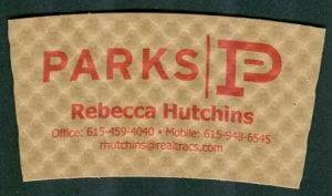 Parks Realty custom coffee cup sleeve - Custom Cup Sleeves Smyrna, TN