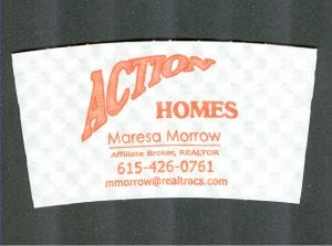 Custom coffee cup sleeve proof for Action Homes - Custom Cup Sleeves Smyrna, TN