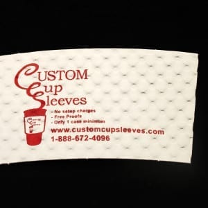 Custom coffee cup sleeve on white with red text - Custom Cup Sleeves Smyrna, TN