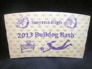Smyrna High 2013 Bulldog Bash custom coffee cup sleeve on white with purple text - Custom Cup Sleeves Smyrna, TN