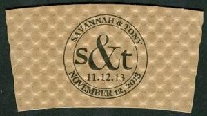 Savannah & Tony custom wedding coffee cup sleeve - Custom Cup Sleeves Smyrna, TN