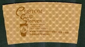 Custom coffee cup sleeve in natural with brown text - Custom Cup Sleeves Smyrna, TN