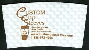 Custom coffee cup sleeve in white with brown text - Custom Cup Sleeves Smyrna, TN