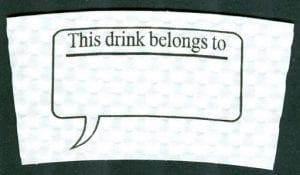 This Drink Belongs to custom coffee cup sleeve on white with black print - Custom Cup Sleeves Smyrna, TN