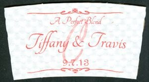 Tiffany & Travis custom wedding coffee cup sleeve - Custom Cup Sleeves Smyrna, TN