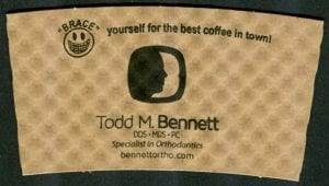 Todd M. Bennett DDS custom coffee cup sleeve - Custom Cup Sleeves Smyrna, TN