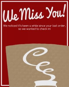 We Miss You banner for customers - Custom Cup Sleeves Smyrna, TN