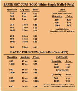Cup price list - Custom Cup Sleeves Smyrna, TN