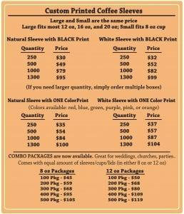 Custom coffee cup sleeve price list - Custom Cup Sleeves Smyrna, TN